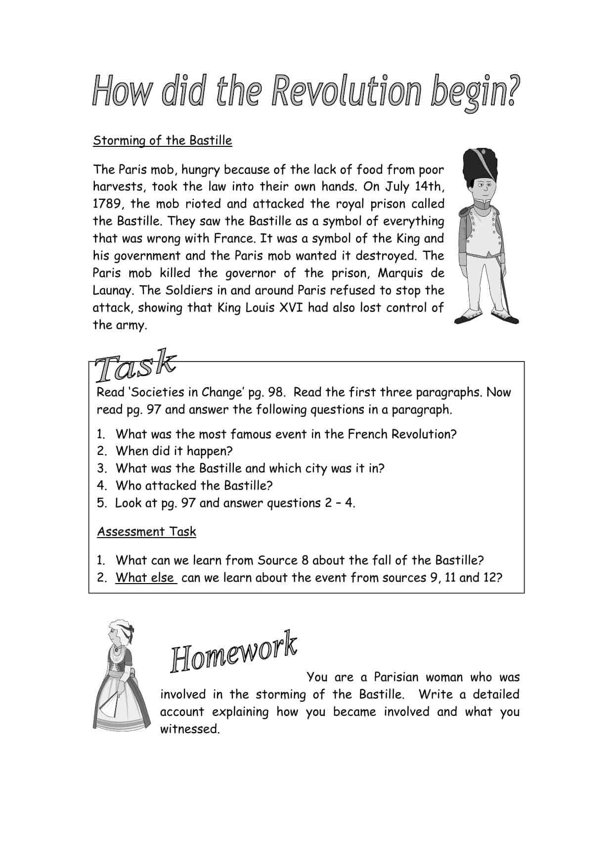 How Did The Revolution Begin Worksheet
